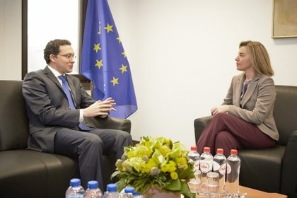 Minister Daniel Mitov confers with EU Foreign Affairs High Representative Federica Mogherini