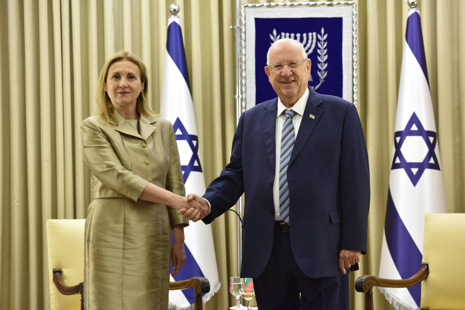 The Ambassador Extraordinary and Plenipotentiary of the Republic of Bulgaria to the State of Israel Rumiana Bachvarova presented her letter of credence to  his the President of Israel Reuven Rivlin